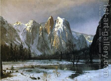 Cathedral Rocks, Yosemite Valley, California by Albert Bierstadt - Reproduction Oil Painting
