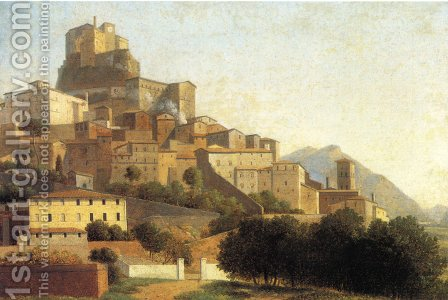Hill Town in Italy by Alexandre-Hyacinthe Dunouy - Reproduction Oil Painting