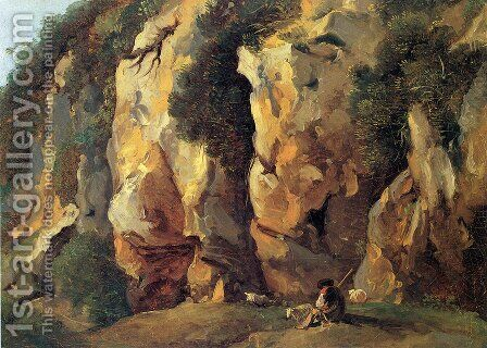 Rocky Cliff with Shepherd and Sheep by Jean Antoine Constantin - Reproduction Oil Painting