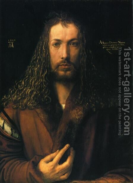 Self Portrait in a Fur-Collard Robe by Albrecht Durer - Reproduction Oil Painting