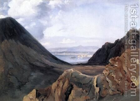 View of Naples from Vesuvius by Achille-Etna Michallon - Reproduction Oil Painting