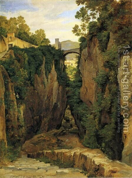 Grotto near Sorrento with Bridge by Heinrich Reinhold - Reproduction Oil Painting