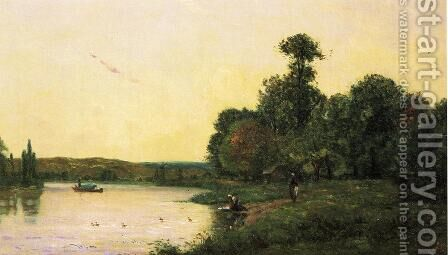 Washerwomen by he River at Sunset by Hippolyte Camille Delpy - Reproduction Oil Painting