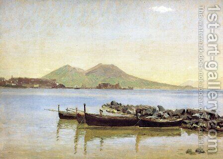 The Bay of Naples with Vesuvius in the Background by Christen Kobke - Reproduction Oil Painting