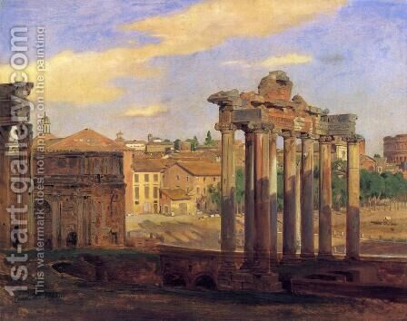 The Arch of Septumius Severus and the Temple of Concord by Constantin Hansen - Reproduction Oil Painting