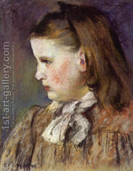 Portrait of Eugenie Estruc by Camille Pissarro - Reproduction Oil Painting
