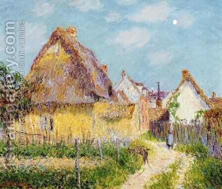 Thatched Cottage, Le Vaudreuil by Gustave Loiseau - Reproduction Oil Painting