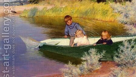 Children Fishing by Charles Curran - Reproduction Oil Painting