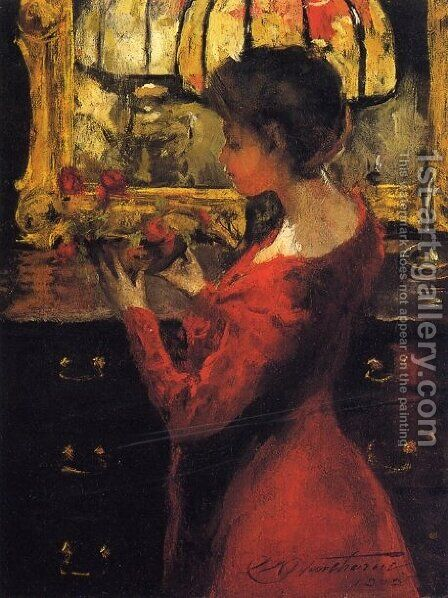 Crimson Roses by Charles Hawthorne - Reproduction Oil Painting