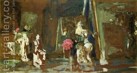 Statuettes on the Mantlepiece by Edouard  (Jean-Edouard) Vuillard - Reproduction Oil Painting