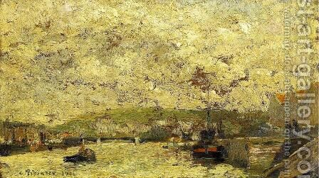 The Seine at Rouen by Camille Pissarro - Reproduction Oil Painting