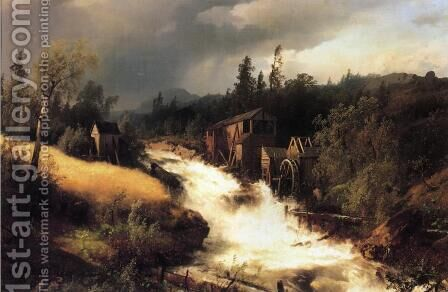 The Old Water Mill I by Herman Herzog - Reproduction Oil Painting