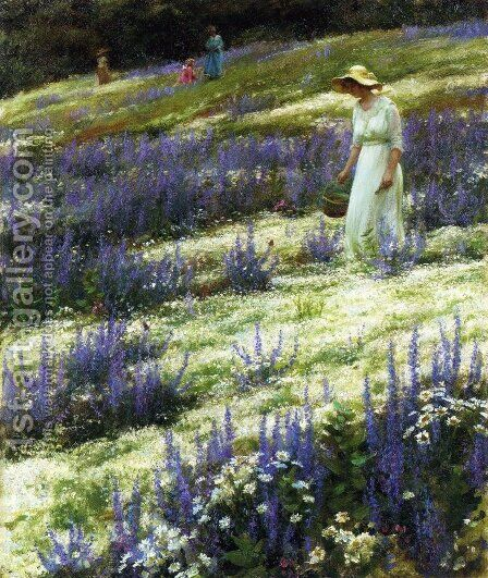 Ladies on a Hill by Charles Curran - Reproduction Oil Painting
