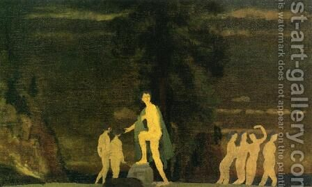 Dancers in a Landscape by Arthur Bowen Davies - Reproduction Oil Painting