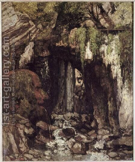 La grotte des geants a Saillon (Valais - Suisse) by Gustave Courbet - Reproduction Oil Painting