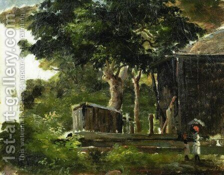 Landscape with House in the Woods in Saint Thomas, Antilles by Camille Pissarro - Reproduction Oil Painting