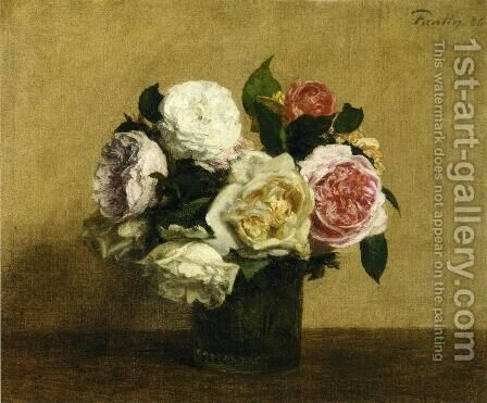 Roses 4 by Ignace Henri Jean Fantin-Latour - Reproduction Oil Painting