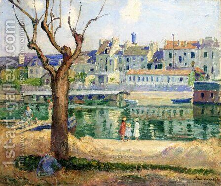 Lagny, View of the Quai de Pamponne by Henri Lebasque - Reproduction Oil Painting