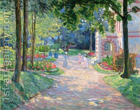 Women and Children in the Parc de Dammartin by Henri Lebasque - Reproduction Oil Painting
