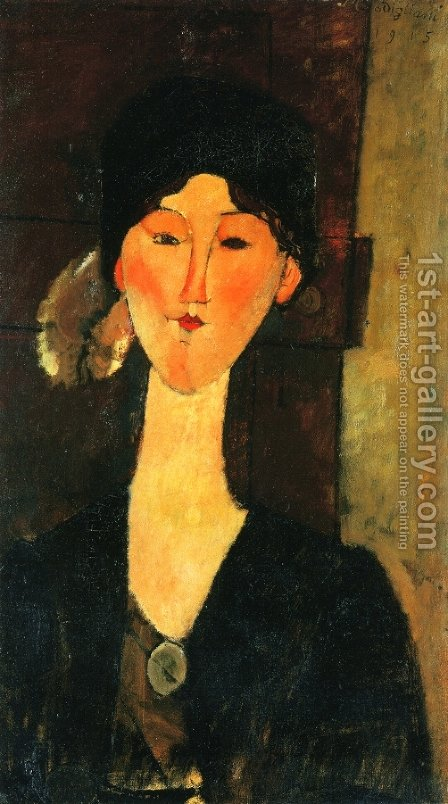 Beatrice Hastings Standing by a Door by Amedeo Modigliani - Reproduction Oil Painting