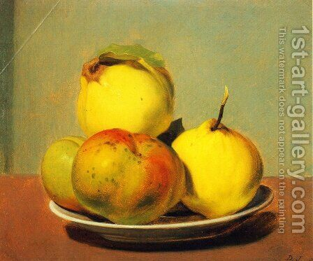 Dish of Apples and Quinces by David Johnson - Reproduction Oil Painting