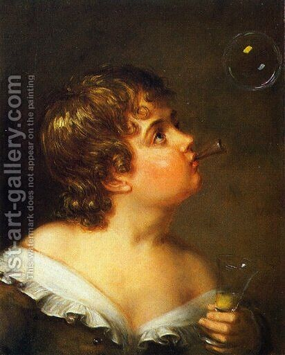 Blowing Bubbles by Charles Bird King - Reproduction Oil Painting