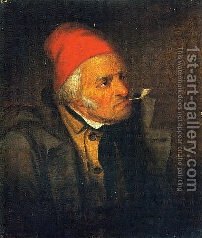Man with Red Hat and Pipe by Cornelius David Krieghoff - Reproduction Oil Painting