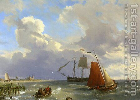 Shipping in a Choppy Estuarry by Hermanus Jr. Koekkoek - Reproduction Oil Painting