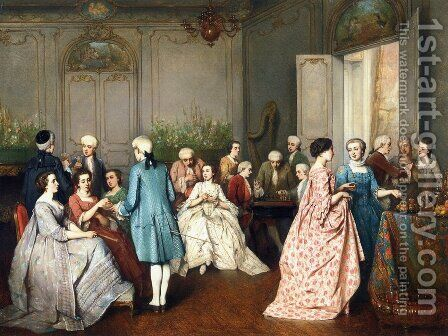 Fashionable Soiree by Benjamin Eugene Fichel - Reproduction Oil Painting