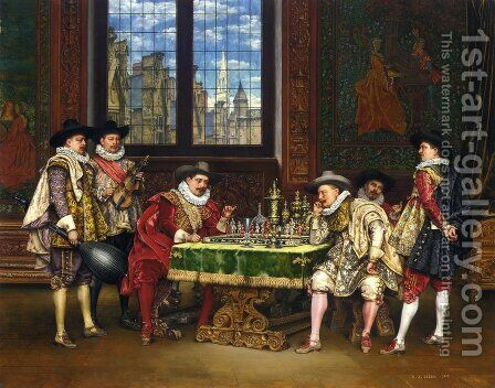 The Chess Players by Adolphe Alexandre Lesrel - Reproduction Oil Painting