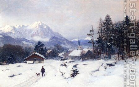 A Hunter in a Winter Landscape by Anders Anderson-Lundby - Reproduction Oil Painting