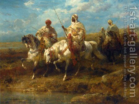 Arab Horsemen I by Adolf Schreyer - Reproduction Oil Painting