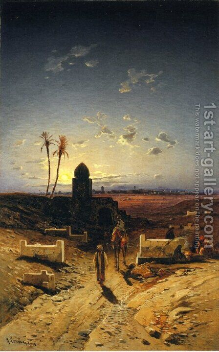 Twilight in the Desert by Hermann David Salomon Corrodi - Reproduction Oil Painting