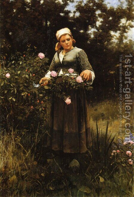 Gathering Roses by Daniel Ridgway Knight - Reproduction Oil Painting