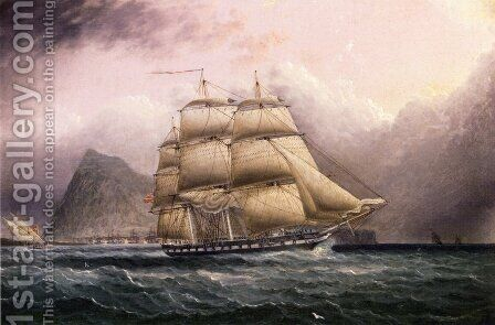 American Frigate off Gilbraltar by James E. Buttersworth - Reproduction Oil Painting