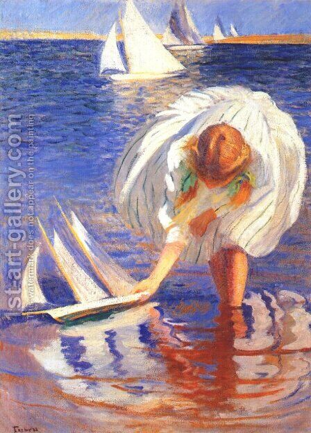 Girl with Sailboat by Edmund Charles Tarbell - Reproduction Oil Painting