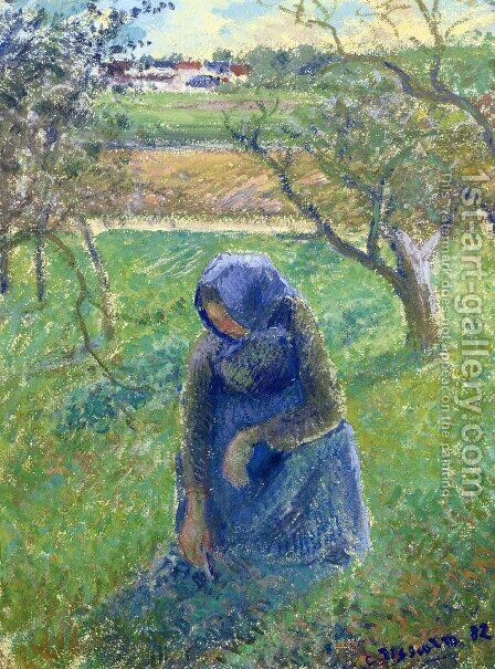 Gathering Herbs by Camille Pissarro - Reproduction Oil Painting