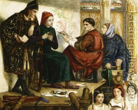 Giotto Painting the Portrait of Dante by Dante Gabriel Rossetti - Reproduction Oil Painting