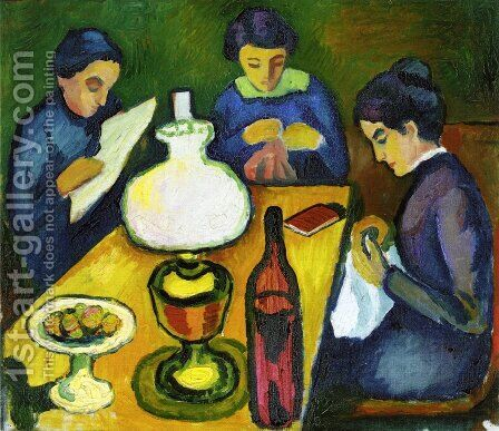 Three Women at the Table by the Lamp by August Macke - Reproduction Oil Painting