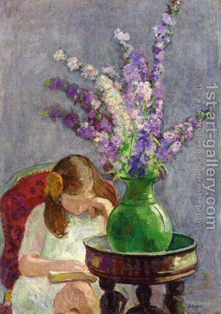 Girl with Flowers by Henri Lebasque - Reproduction Oil Painting