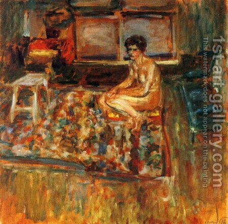 Nude on an Orange Rug by Edouard  (Jean-Edouard) Vuillard - Reproduction Oil Painting