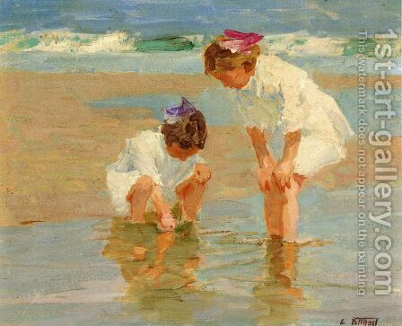 Girls Playing in Surf by Edward Henry Potthast - Reproduction Oil Painting