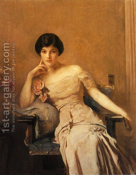 Mrs. John Lawrence by Edmund Charles Tarbell - Reproduction Oil Painting