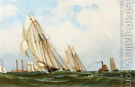 Sappho off Sandy Hook Lightship by Antonio Nicolo Gasparo Jacobsen - Reproduction Oil Painting