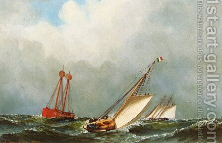 Vision and Dauntless off Sandy Hook Lightship by Antonio Nicolo Gasparo Jacobsen - Reproduction Oil Painting