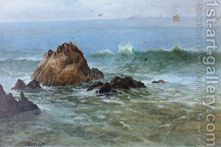 Seal Rocks off Pacific Coast, California by Albert Bierstadt - Reproduction Oil Painting