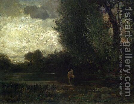 Angler by Forest Stream by Arthur Parton - Reproduction Oil Painting