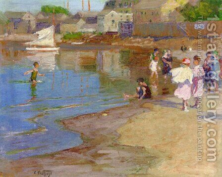 Children Playing at the Beach by Edward Henry Potthast - Reproduction Oil Painting