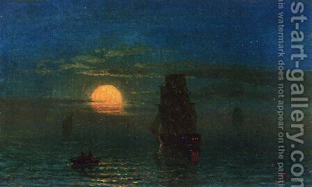 Ships in Moonlight by Albert Bierstadt - Reproduction Oil Painting