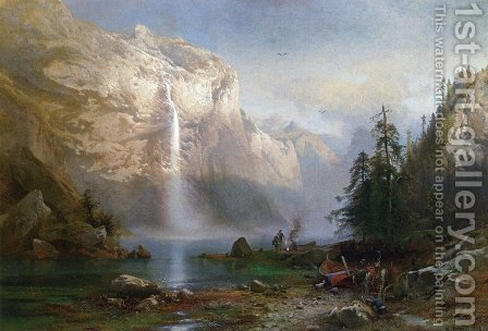 Mountain Lake Camp by Herman Herzog - Reproduction Oil Painting